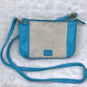 Fossil Blue Tan Canvas Crossbody Purse Handbag